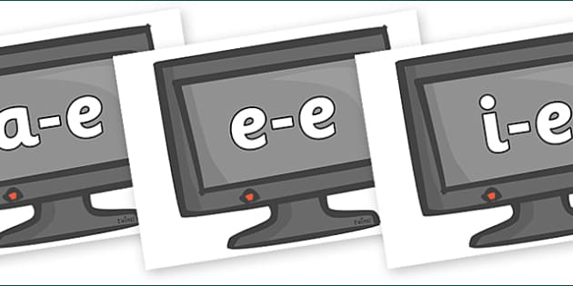 Modifying E Letters on Computer Monitors - Modifying E, letters, modify, Phase 5, Phase five, alternative spellings for phonemes, DfES letters and Sounds