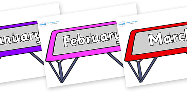 Months of the Year on Trampolines - Months of the Year, Months poster, Months display, display, poster, frieze, Months, month, January, February, March, April, May, June, July, August, September