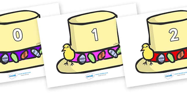 Numbers 0-50 on Easter Bonnets - 0-50, foundation stage numeracy, Number recognition, Number flashcards, counting, number frieze, Display numbers, number posters