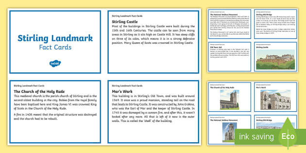 Stirling Landmarks Fact Cards - Scottish Cities, Stirling, Scotland, Stirling Bridge, Castle, Wallace Monument, Mar's Wark, Old Tow