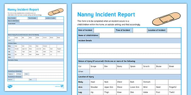 Australian Nanny Incident Form Editable Proforma-Australia