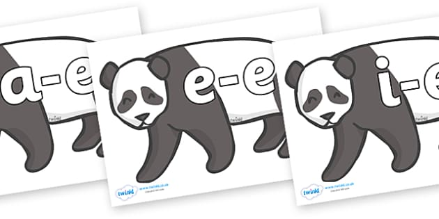 Modifying E Letters on Pandas - Modifying E, letters, modify, Phase 5, Phase five, alternative spellings for phonemes, DfES letters and Sounds