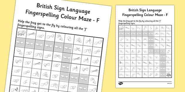 British Sign Language Fingerspelling Colour Maze F - colour, maze