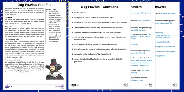 Guy Fawkes KS2 Differentiated Reading Comprehension Activity - Guy Fawkes, Bonfire Night, Fireworks night, bonfire, fireworks, Fawkes, gunpowder plot, James I, Kin