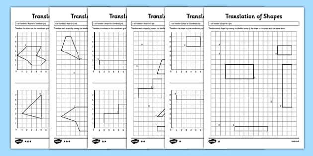 Translation of Shapes Activity Sheet Pack - KS2, Key Stage 2, Year 5, translate, translation, coordinates, axis, axes, worksheet