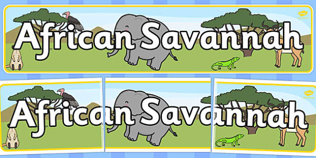 African Savannah Display Banner - Africa, Savanna, poster, display, vines, A4, display, lion, cheetah, puma, jaguar, rhino, hippo, elephant, giraffe, antelope