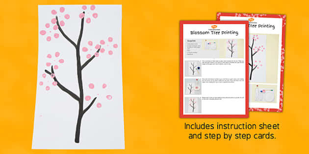 Blossom Tree Printing Craft Instructions - craft, blossom tree, printing, instructions