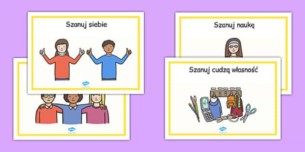 Plakaty Szacunek po polsku - zachowanie, wychowawcza