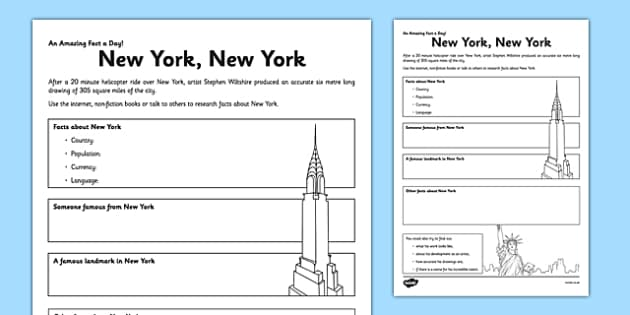 New York, New York Activity Sheet - new york, facts, research, fact of the day, activity, worksheet