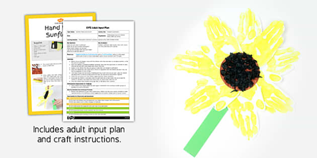 Handprint Sunflowers EYFS Adult Input Plan and Resource Pack - summer, plants, sunflower, lesson plan, activity,