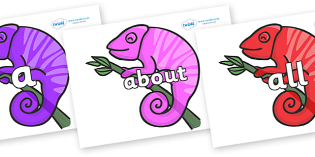 100 High Frequency Words on Chameleons - High frequency words, hfw, DfES Letters and Sounds, Letters and Sounds, display words