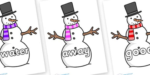 Next 200 Common Words on Snowman - Next 200 Common Words on  - DfES Letters and Sounds, Letters and Sounds, Letters and sounds words, Common words, 200 common words