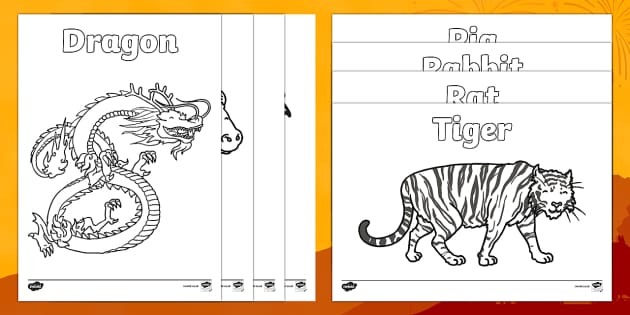 Chinese New Year Story Animals Colouring Pages