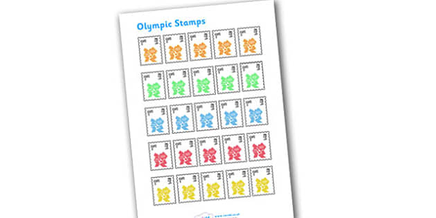 Olympic London 2012 Role Play Stamps - stamps, Olympics, Olympic Games, sports, Olympic, London, stamps, role play, 2012, activity, Olympic torch, medal, Olympic Rings, mascots, flame, compete, events, tennis, athlete, swimming