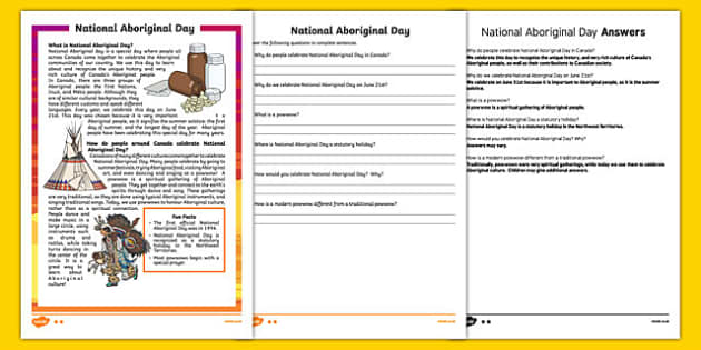 National Aboriginal Day Reading Comprehension - canada, national aboriginal day, reading comprehension
