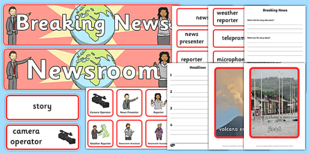Newsroom Role Play Pack - news, newsroom, breaking news, role play, pack, play, news presenter, reporter, camera, headlines, story, press, camera operator, bulletin