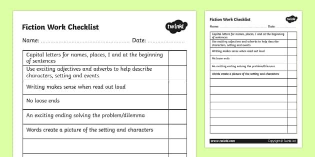 Fiction Work Checklist - fiction, fiction work, fiction checklist, fiction writing, ks2 writing, story writing, story writing checklist, ks2 english, ks2