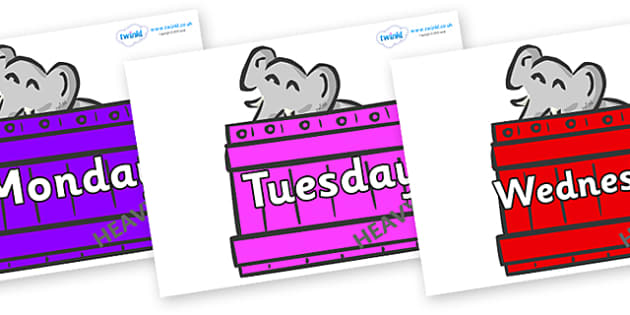 Days of the Week on Elephants (Crate) to Support Teaching on Dear Zoo - Days of the Week, Weeks poster, week, display, poster, frieze, Days, Day, Monday, Tuesday, Wednesday, Thursday, Friday, Saturday, Sunday