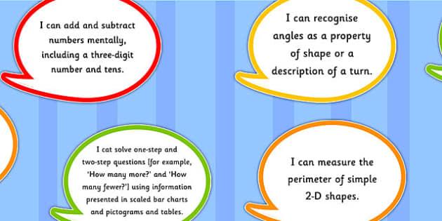2014 Curriculum Year 3 Maths Assessment I Can Speech Bubbles