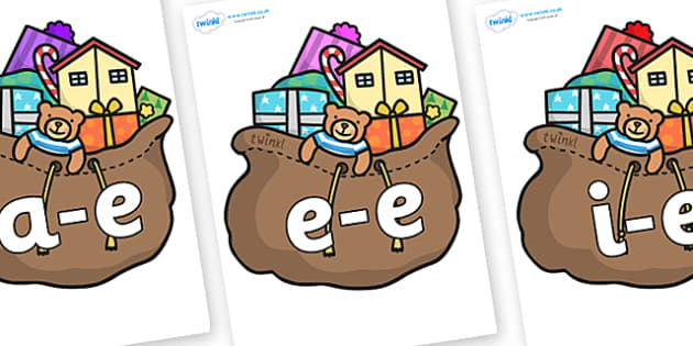 Modifying E Letters on Christmas Presents - Modifying E, letters, modify, Phase 5, Phase five, alternative spellings for phonemes, DfES letters and Sounds