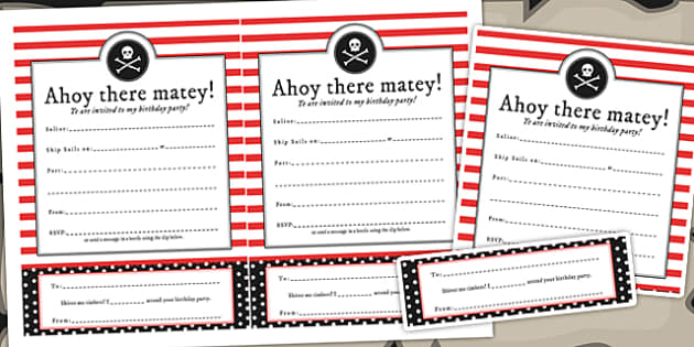 Pirate Themed Birthday Party Invitations - birthdays, parties