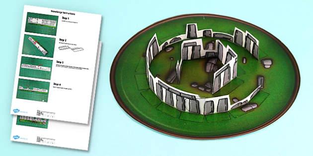 3D Stonehenge Paper Model Printable Activity - 3d, stonehenge, paper model, paper, model, printable, activity
