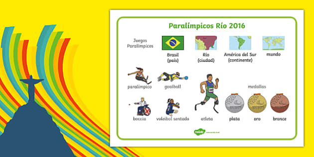 Paralímpicos Río 2016 - spanish, Paralympics, Rio 2016, Brazil, Word Mat, Key words, Key vocabulary, Literacy, English, Special Educational Needs, Language development, Disability Awareness