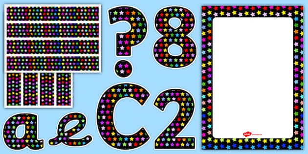Multicoloured Star Themed Complete Editable Display Pack - editable, display pack, star