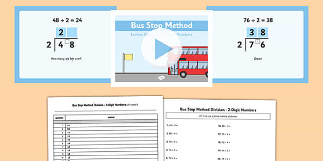 Formal Division 2 Digit Numbers Bus Stop Method Pack - formal division, 2 digit, numbers, bus stop, method, pack
