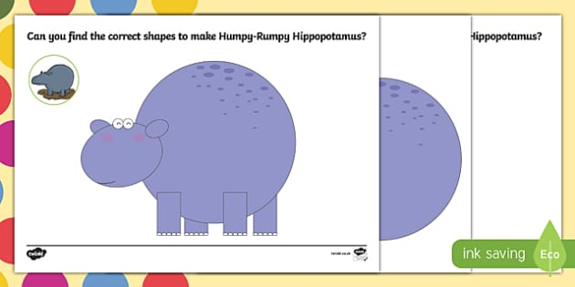 Hippopotamus Shape Activity Sheet Pack to Support Teaching on The Enormous Crocodile - Humpy Rumpy Hippopotamus, The Enormous Crocodile, Roald Dahl, worksheet