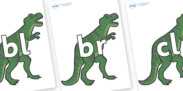 Initial Letter Blends on T-Rex - Initial Letters, initial letter, letter blend, letter blends, consonant, consonants, digraph, trigraph, literacy, alphabet, letters, foundation stage literacy