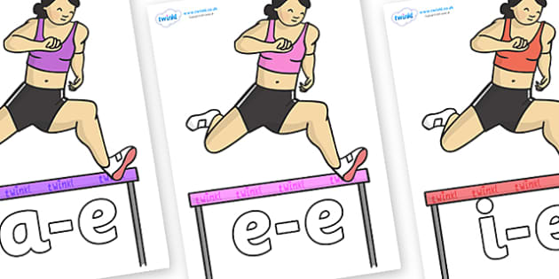 Modifying E Letters on Olypmic Hurdles - Modifying E, letters, modify, Phase 5, Phase five, alternative spellings for phonemes, DfES letters and Sounds