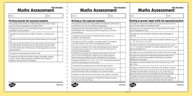 KS1 Maths Exemplification Checklist - Assessment, checklist, KS1 maths exemplification