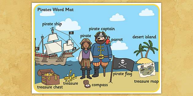Pirate Scene Word Mat - pirate, vocabulary mat, word mat, key words, topic words, word poster, vocabulary poster, scene words, literacy, themed word mat