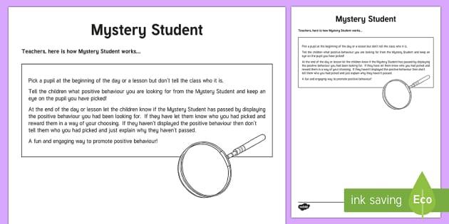 Mystery Student Explanation Sheet - Mystery Student, behaviour management,Scottish, cfe, Scotland