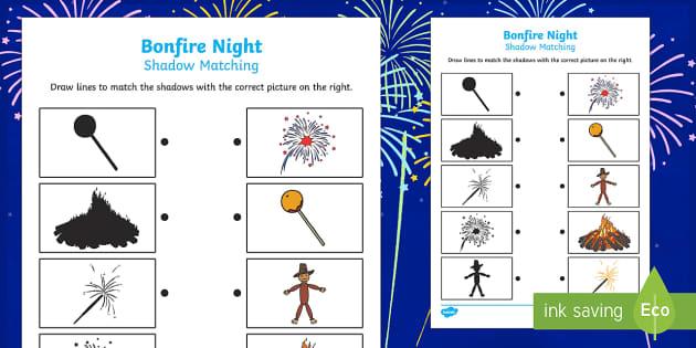 Bonfire Night Themed Shadow Matching Activity Sheet- match, sort
