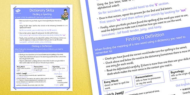 Dictionary Skills Poster - dictionary skills, poster, display, dictionary