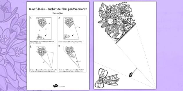 Buchet de flori pentru colorat - Ziua mamei