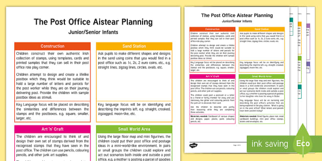 ROI The Post Office Aistear Planning Template - Aistear, Infants, English Oral Language, School, The Garda Station, The Hairdressers, The Airport, T