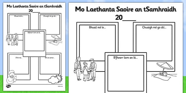 Summer Holiday Snapshots SEN Version Gaeilge - summer holiday, snapshots, sen