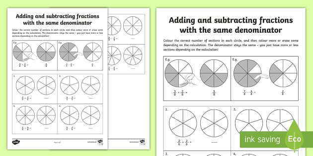 Adding and Subtracting Fractions with the Same Denominator Activity Sheet - Learning from Home Maths Workbooks, year 4 fractions, pizza fractions