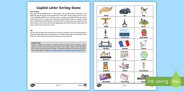 Capital Letters Sorting Game