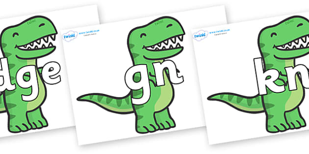 Silent Letters on T Rex Dinosaurs - Silent Letters, silent letter, letter blend, consonant, consonants, digraph, trigraph, A-Z letters, literacy, alphabet, letters, alternative sounds