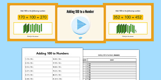 Adding 100 Lessons 1 and 2 Teaching Pack - adding, 100, lessons, teaching pack