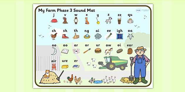 Farm Themed Phase 3 Sound Mat - farm, phase three, sound mat
