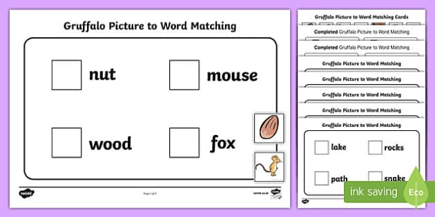 Workstation Pack:  Gruffalo Picture to Word Matching Activity Pack