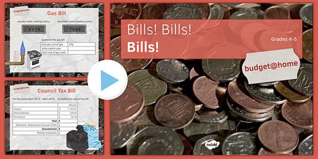 Budget at Home: Bills Bills Bills PowerPoint GCSE Grades 4-5 - KS3, KS4, GCSE, Maths, Finance, Budget, Home