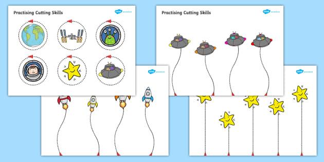 Space Themed Scissor Skills Activity Sheet Pack - space, scissor skills, activity, sheets, worksheet
