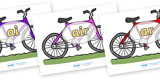 Phase 3 Phonemes on Bicycles - Phonemes, phoneme, Phase 3, Phase three, Foundation, Literacy, Letters and Sounds, DfES, display