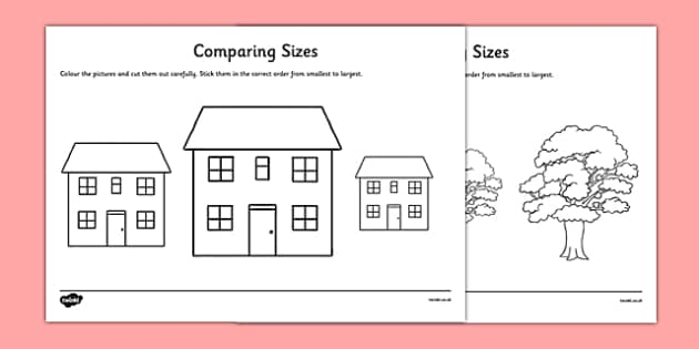 Comparing Sizes Activity Sheet Pack - CfE, numeracy, comparing sizes, worksheet